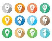 Flat lightbulb icons