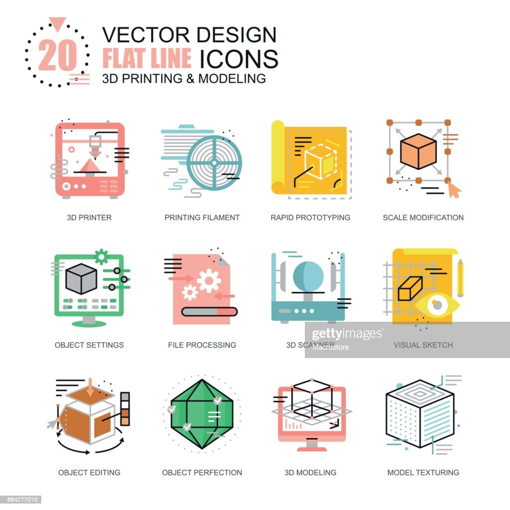 Flat line 3D printing and modeling icons