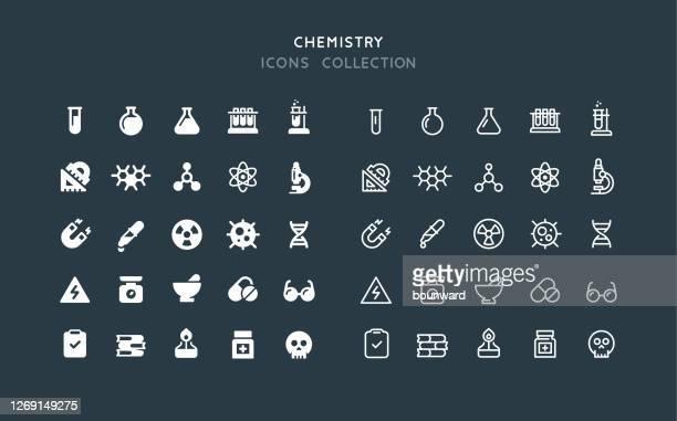 フラット&ラインケミストリーアイコン - 有害物質点のイラスト素材/クリップアート素材/マンガ素材/アイコン素材