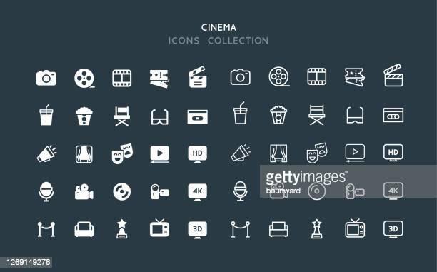 flat & line cinema icons - photographic equipment stock illustrations