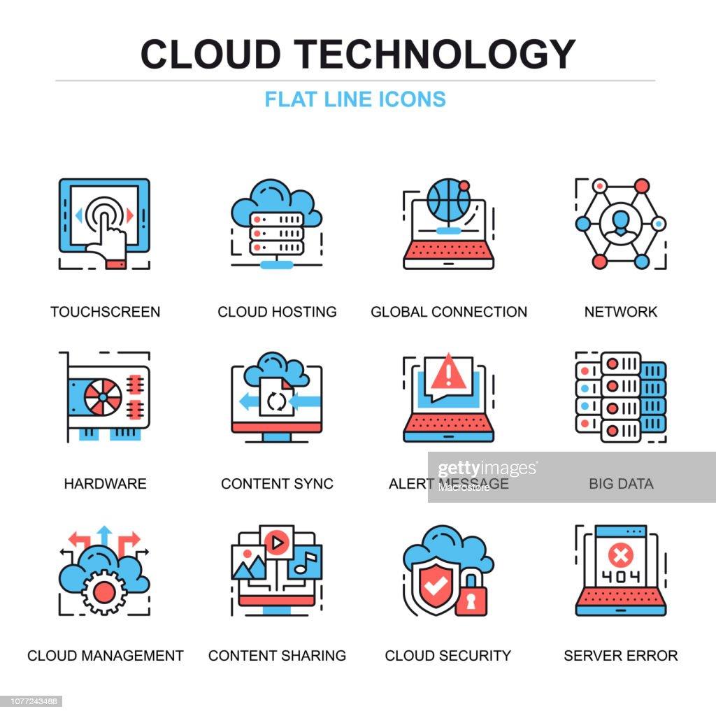 Flat line cloud technology icons concepts set
