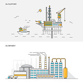 Flat line color concept- Oil platform and Refinery