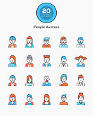 Flat line color icons -People Avatars