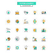 Flat Line Color Icons- Power and Energy
