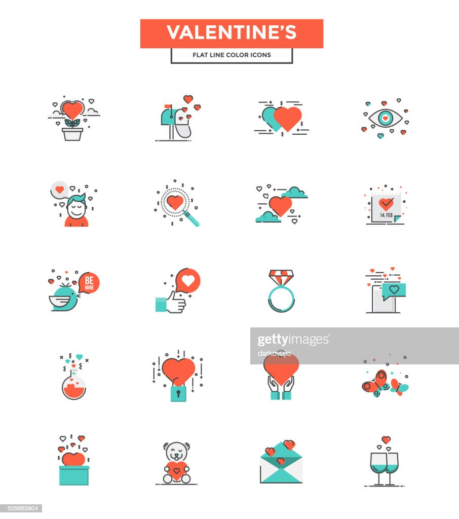 Flat Line Color Icons- Valentines