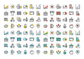 Flat line colorful icons collection of banking and e-banking