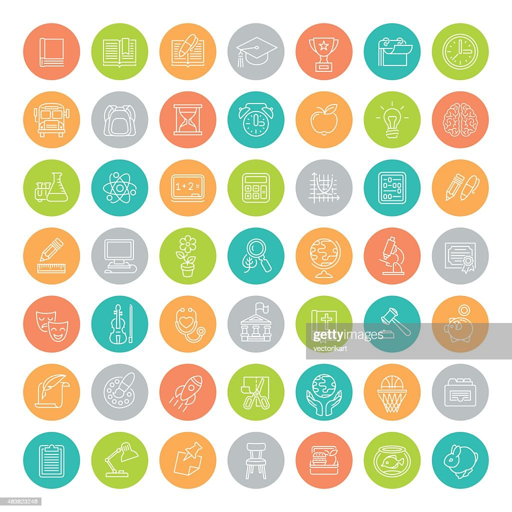 Flat Line Colorful Round School Subjects Education Icons