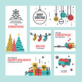 Flat line design Christmas and New Year greeting cards