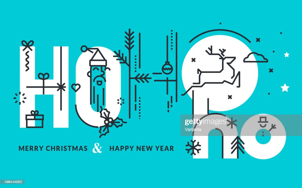 Flat line design Christmas and New Year's greeting card