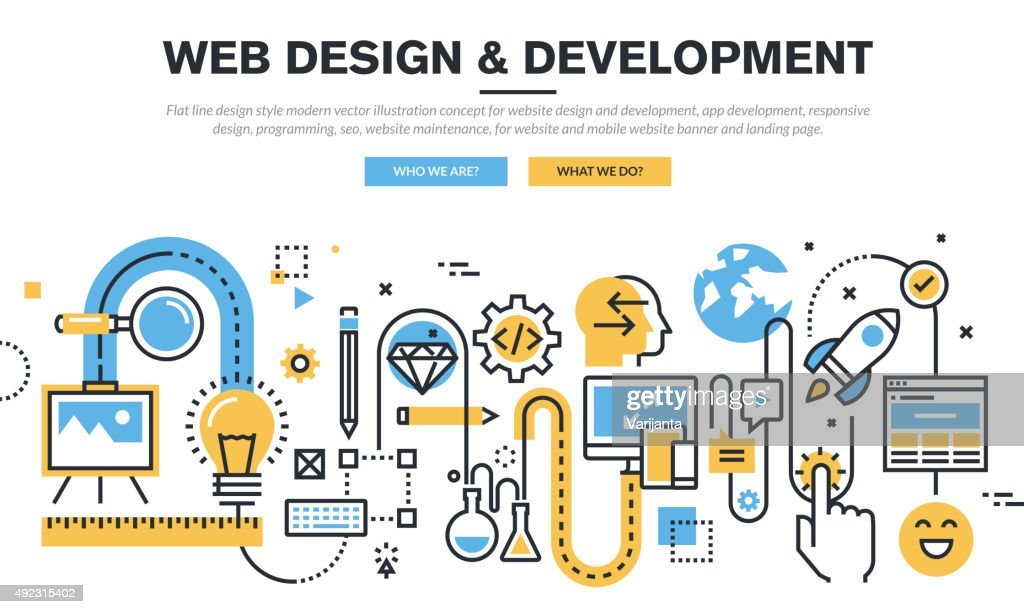 Flat line design concept for website design and development