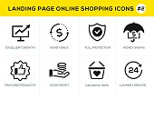 Flat line design concept icons for online shopping,  website banner