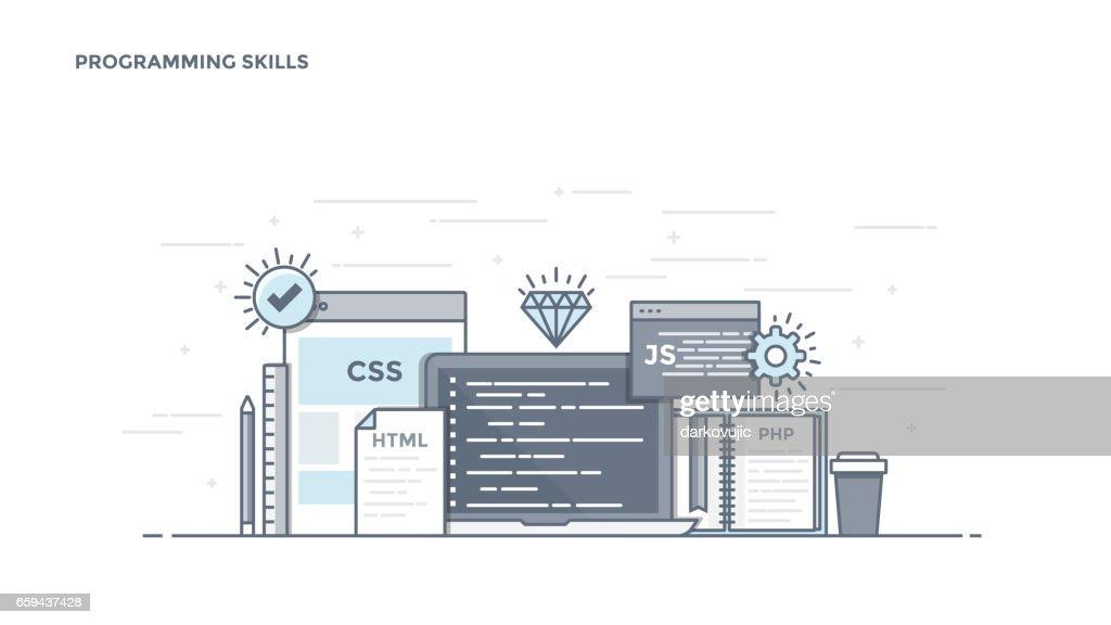 Flat Line Design Header - Programming Skills