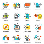 Flat line design icons of online education and e-learning
