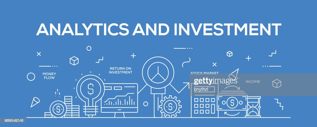 Flat line design illustration concept of Analytics and Investment. Banner for website header and landing page.