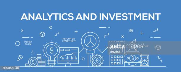 flat line design illustration concept of analytics and investment. banner for website header and landing page. - accountancy stock illustrations, clip art, cartoons, & icons