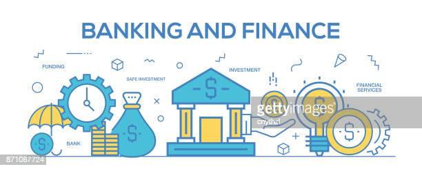 Flat line design illustration concept of Banking and Finance. Banner for website header and landing page.