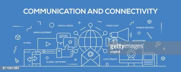 flat line design illustration concept of communication and connectivity. banner for website header and landing page. - landing page stock illustrations