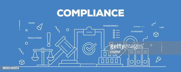 flat line design illustration concept of compliance. banner for website header and landing page. - politics concept stock illustrations