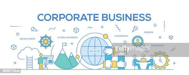 flat line design illustration concept of corporate business. banner for website header and landing page. - conspiracy stock illustrations, clip art, cartoons, & icons