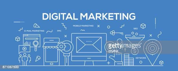 flat line design illustration concept of digital marketing. banner for website header and landing page. - landing page stock illustrations