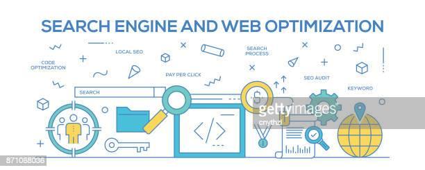 Flat line design illustration concept of Search Engine and Web Optimization. Banner for website header and landing page.