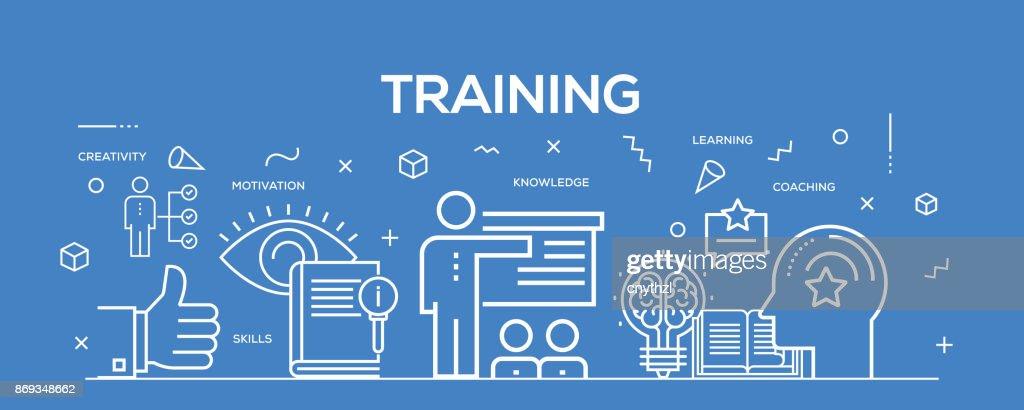 Flat line design illustration concept of Training. Banner for website header and landing page. : stock illustration