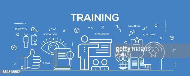 flat line design illustration concept of training. banner for website header and landing page. - place of work stock illustrations, clip art, cartoons, & icons