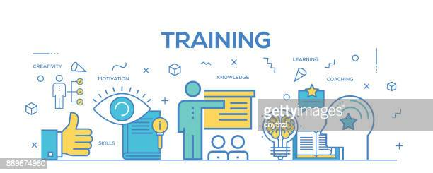 flat line design illustration concept of training. banner for website header and landing page. - learning stock illustrations