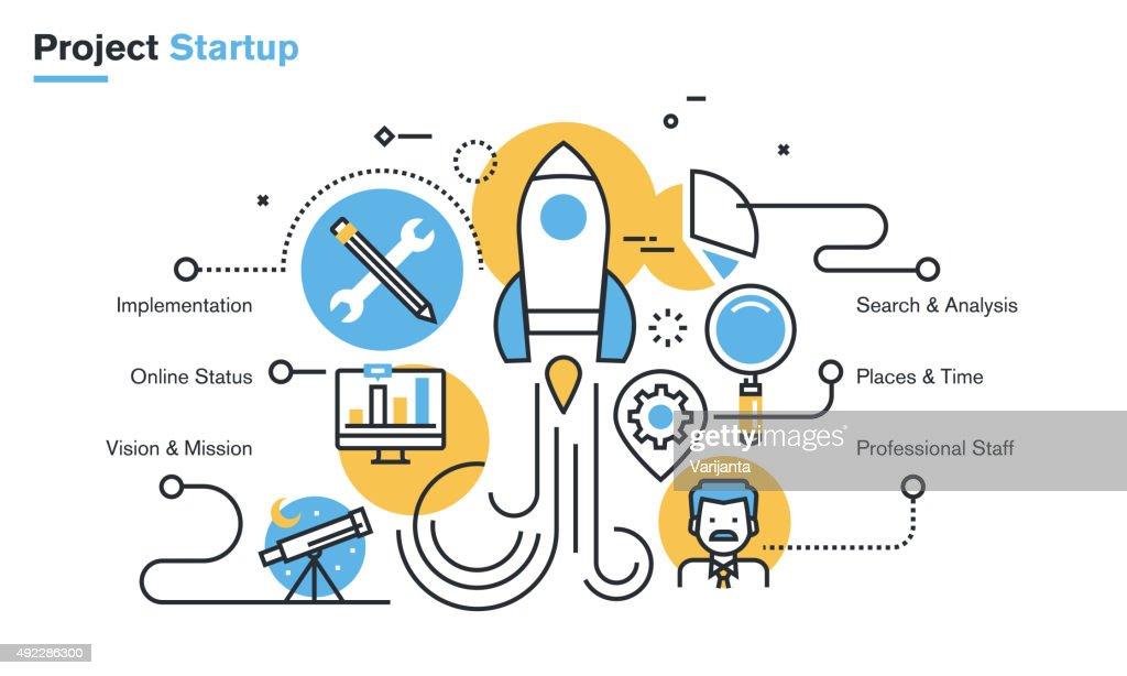 Flat line design illustration of project startup process