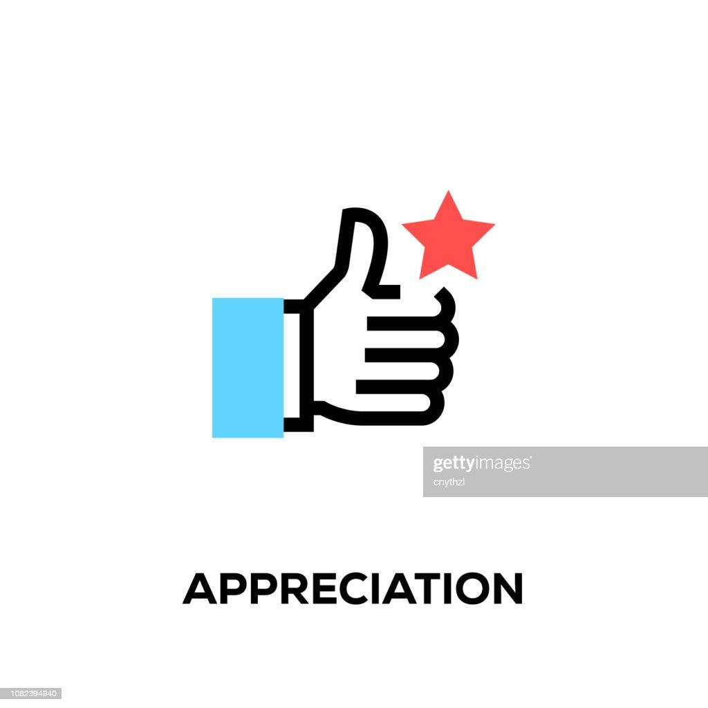 Flat line design style modern vector Appreciation icon : Stock Illustration