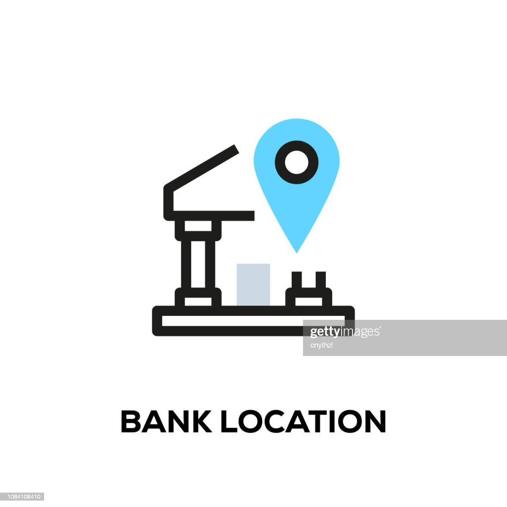 Flat line design style modern vector Bank Location icon : Stock Illustration