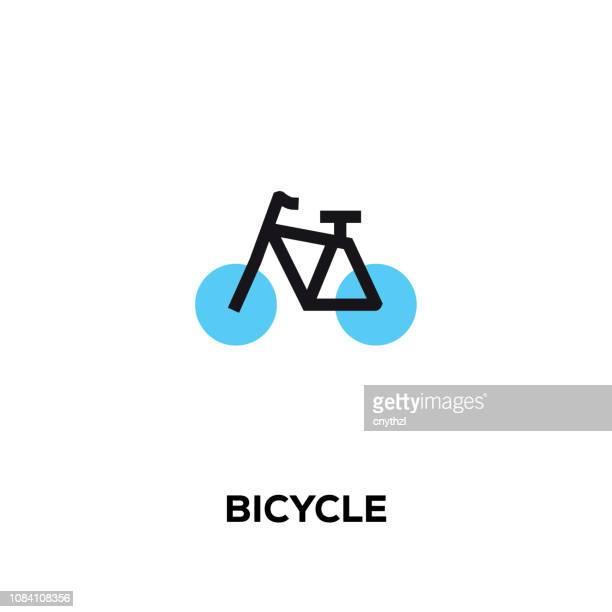 ilustrações, clipart, desenhos animados e ícones de ícone de bicicleta linha plana design estilo moderno vetor - ciclismo