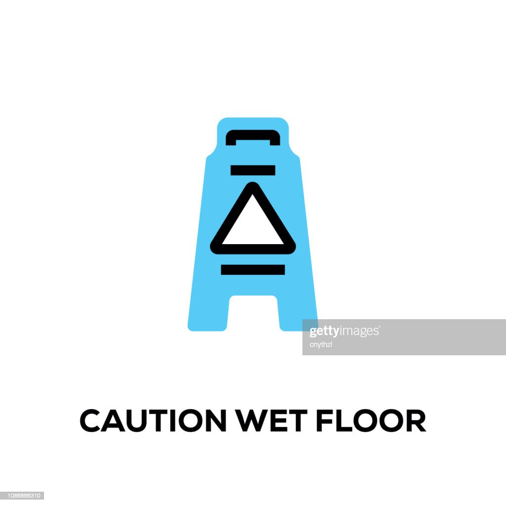 Flat line design style modern vector Caution Wet Floor icon : stock illustration