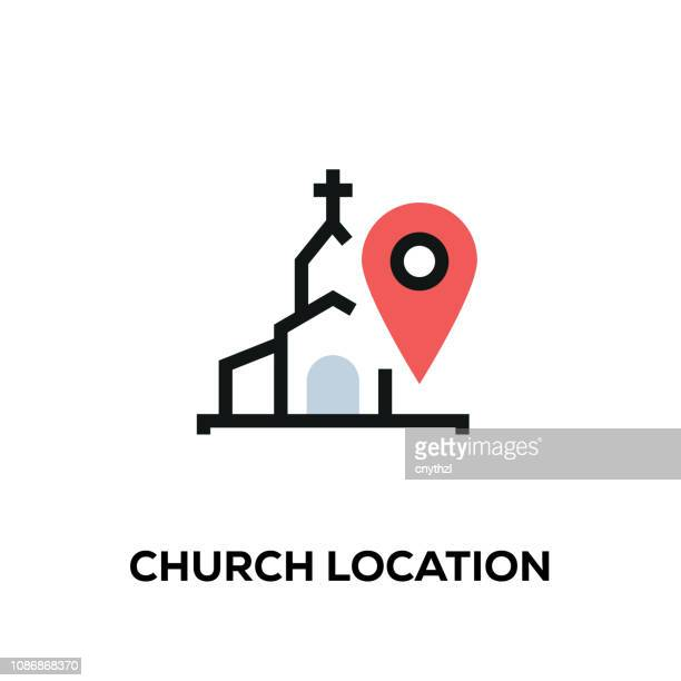 ilustrações de stock, clip art, desenhos animados e ícones de flat line design style modern vector church location icon - igreja