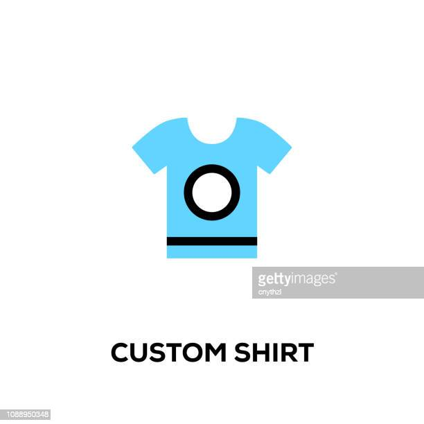 flat line design style modern vector custom shirt icon - t shirt stock illustrations, clip art, cartoons, & icons