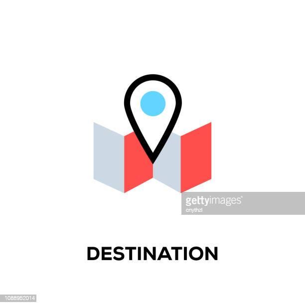 ilustraciones, imágenes clip art, dibujos animados e iconos de stock de icono de destino de línea plana diseño estilo moderno vector - destinos turísticos