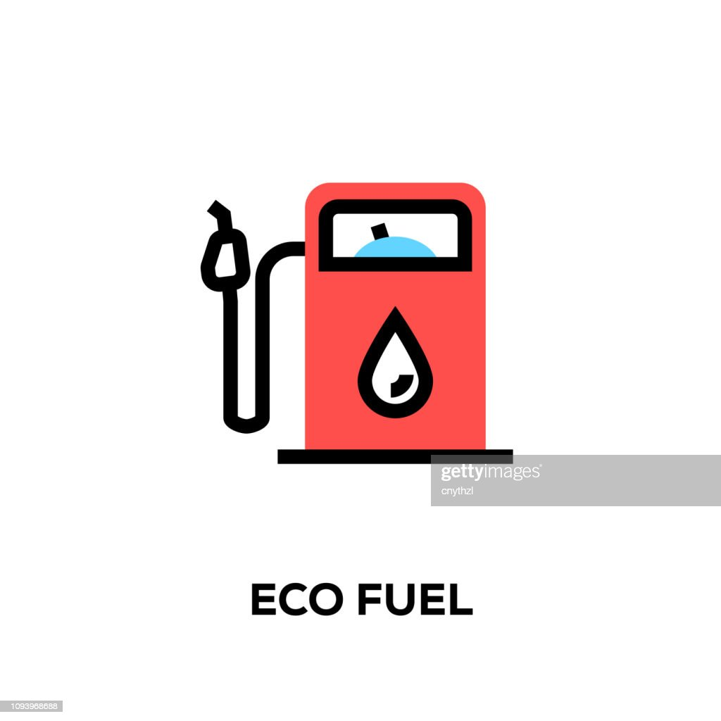 Flat line design style modern vector Eco Fuel icon : stock illustration