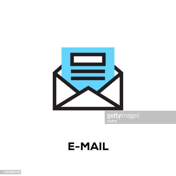 stockillustraties, clipart, cartoons en iconen met pictogram van de e-mail van de moderne vector van de stijl van het ontwerp van platte lijn - e mail