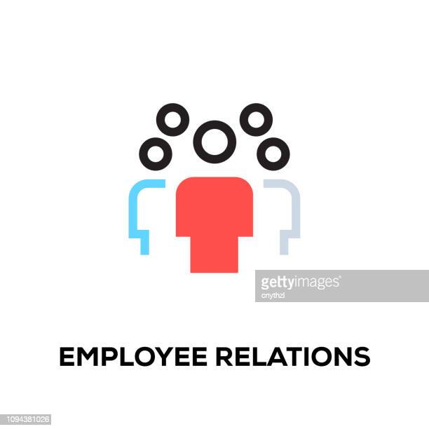 flat line design style modern vector employee relations icon - logo stock illustrations