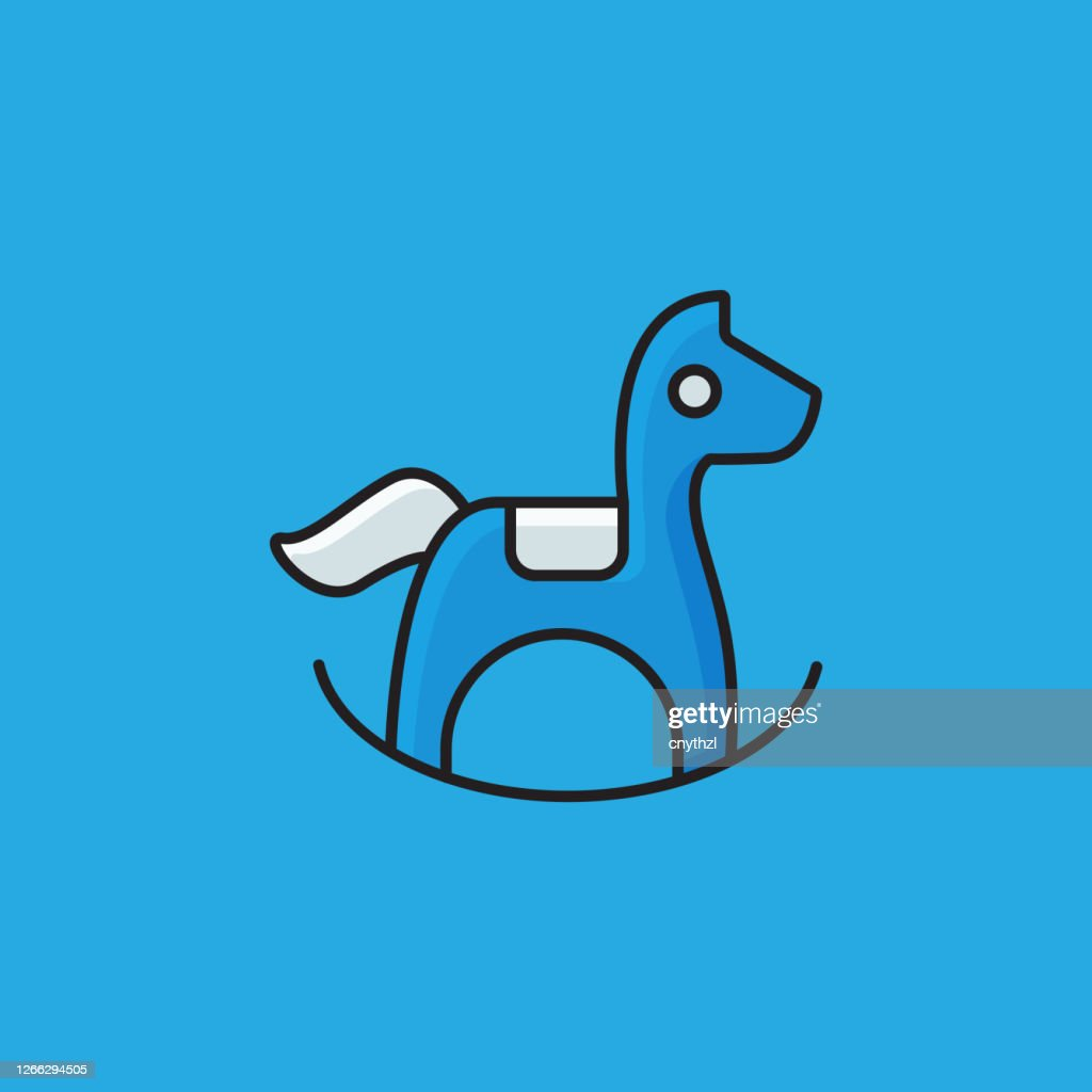 Flat Line Design Style Rocking Horse Icon Outline Symbol Vector Illustration High Res Vector Graphic Getty Images