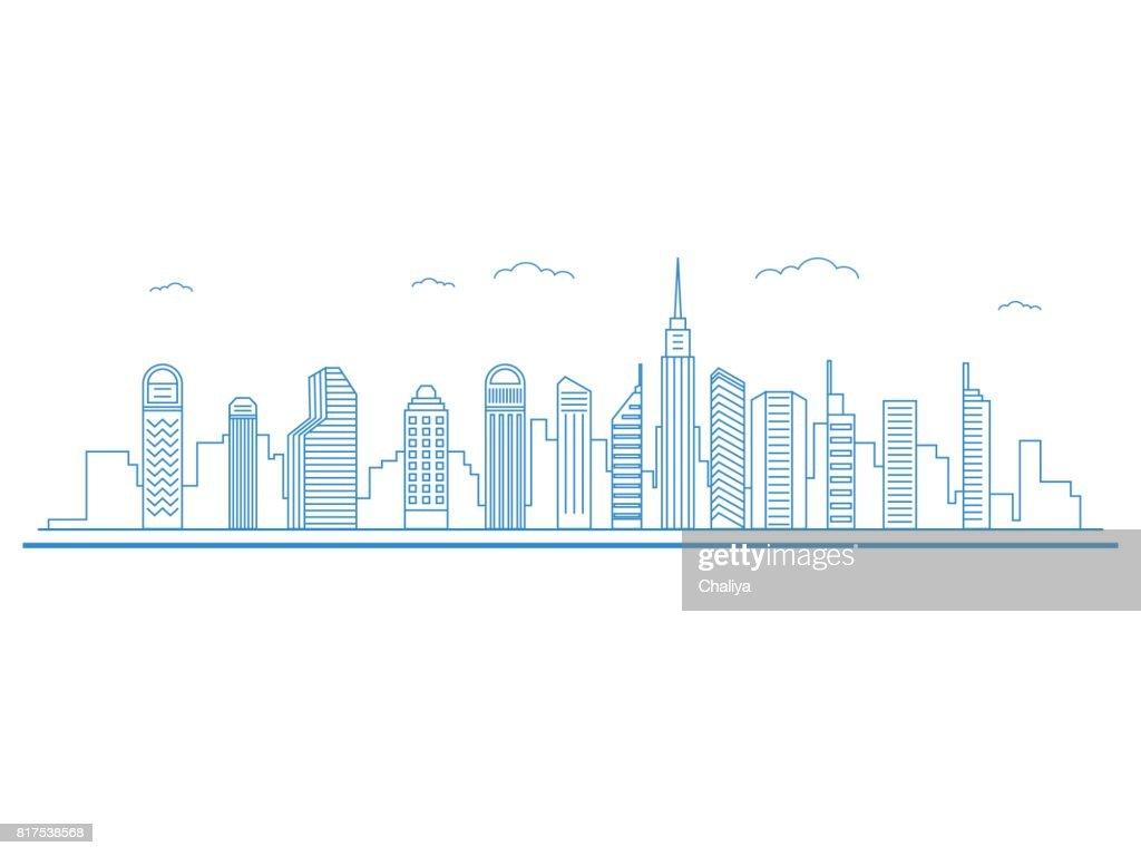 Flat line design style Urban Cityscape. Real Estate concept.