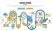 Flat line design vector illustration concept for business graph statistics