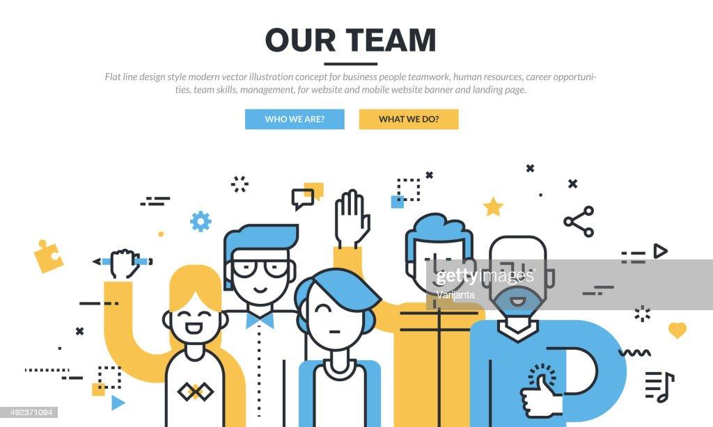 Flat line design vector illustration concept for business people teamwork