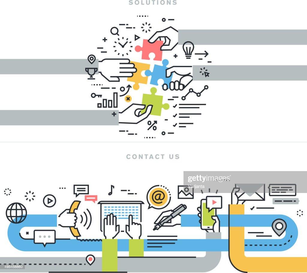 Flat line design vector illustration concepts for business