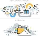 Flat line design vector illustration concepts for cloud computing technology