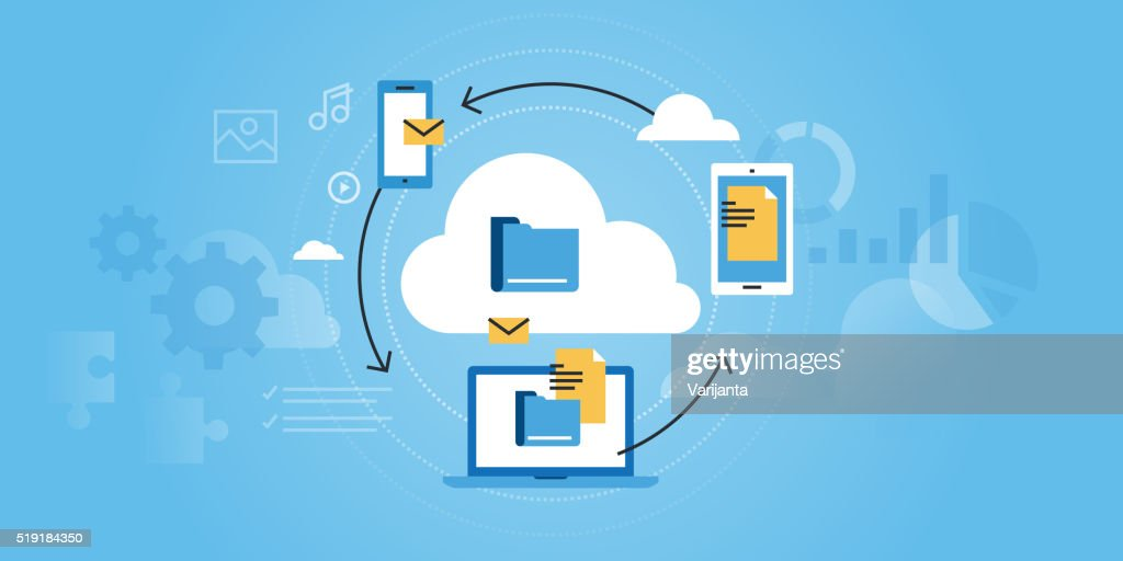 Flat line design website banner of business cloud computing
