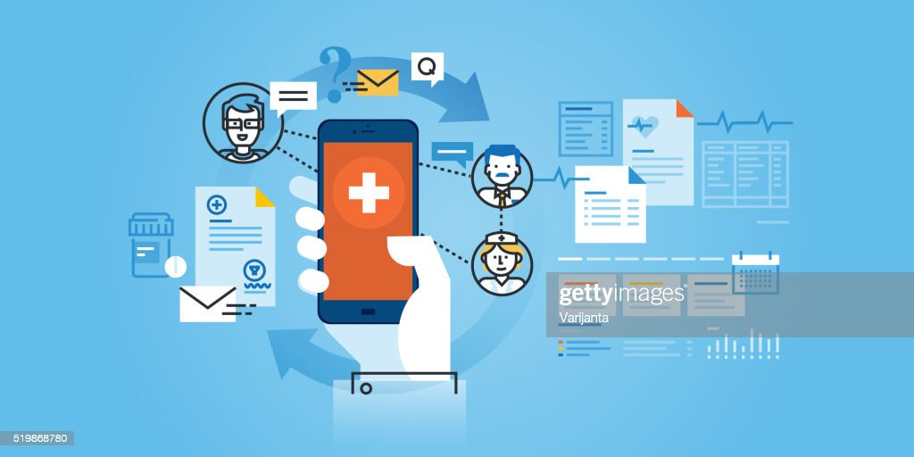Flat line design website banner of healthcare mobile app