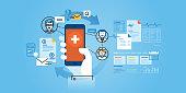 Flat line design website banner of healthcare mobile app