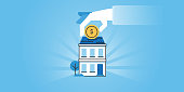Flat line design website banner of housing loans