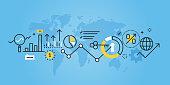 Flat line design website banner of market research